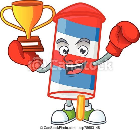 diseño, estados unidos de américa, mascota, ganador, caricatura, boxeo, rayas, cohete, súper, fresco - csp78683148