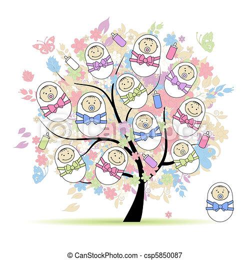 Árbol floral con recién nacidos para tu diseño - csp5850087