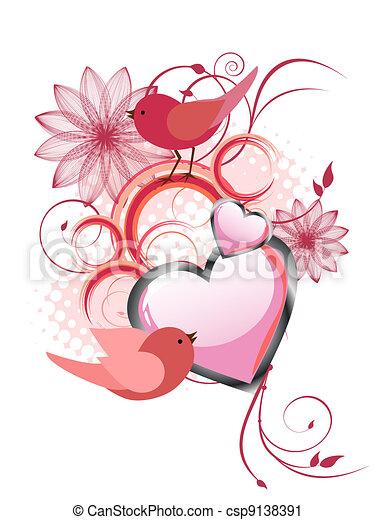 Diseño floral con pájaros - csp9138391