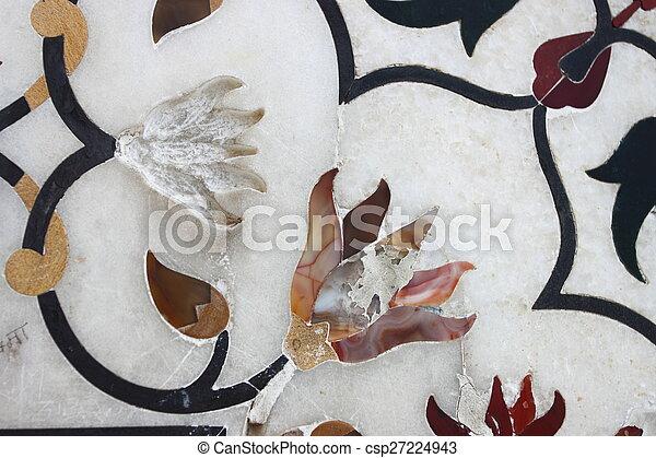 Diseño floral en las paredes de mármol - csp27224943