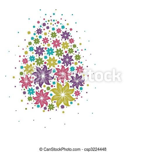 Diseño con huevo este de flores - csp3224448