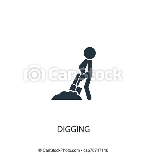 diseño, símbolo, mobile., icon., jardinería, simple, illustration., utilizado, cavar, elemento, hombre, vector, ser, agricultura, lata, collection., tela - csp78747146
