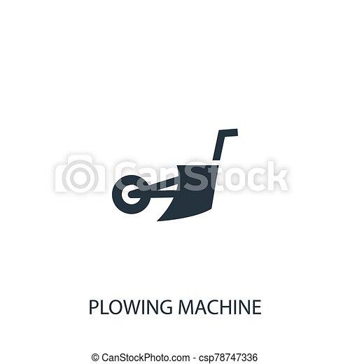 diseño, símbolo, mobile., icon., jardinería, simple, illustration., utilizado, arada, elemento, vector, ser, máquina, agricultura, lata, collection., tela - csp78747336