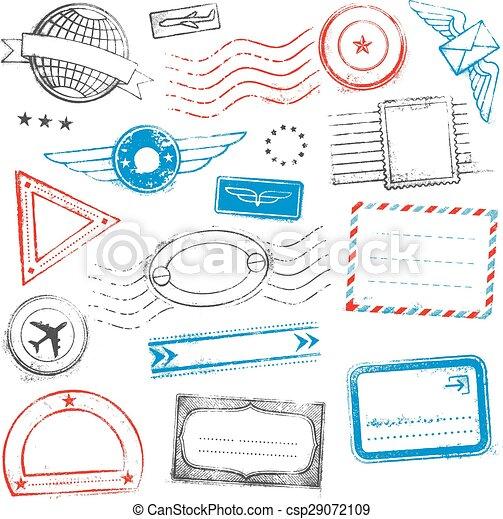 Diseños, grunge, coloreado, sellos, pasaporte, correo. Designs ...