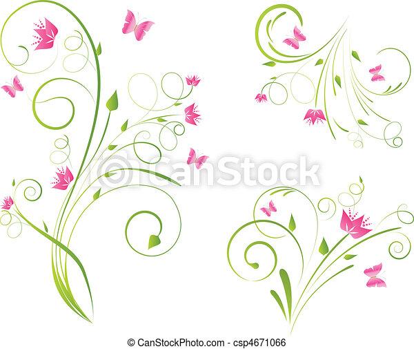 Florales diseños y mariposas - csp4671066