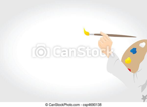 disegnare, canovaccio., artista, illustrazione, mano, vettore, spazzola - csp4690138