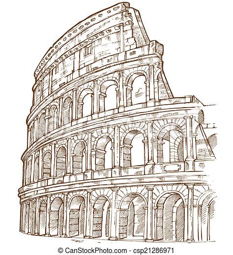 Disegnare Colosseo Mano Disegnare Isolato Mano Fondo