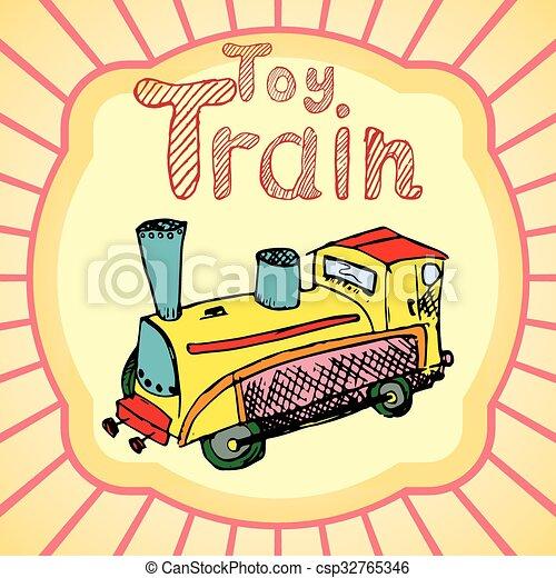 disegnare, giocattolo, colorato, mano, treno, cartone animato - csp32765346