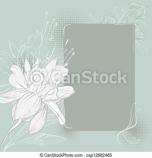 disegnato, cornice, fiori, mano - csp12682465