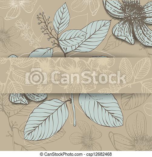 disegnato, cornice, fiori, mano - csp12682468