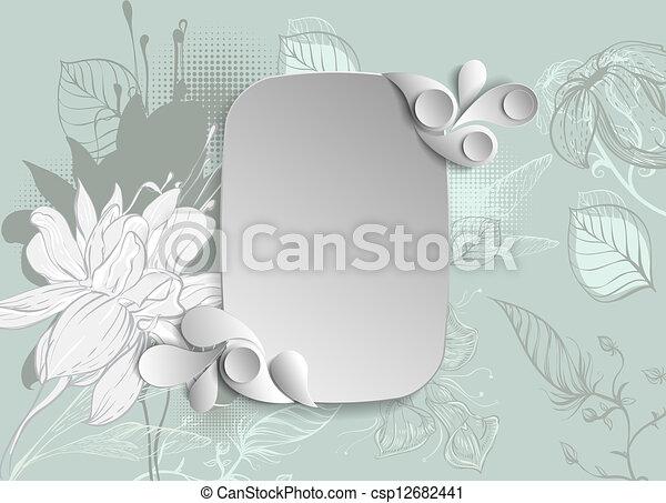 disegnato, cornice, fiori, mano - csp12682441