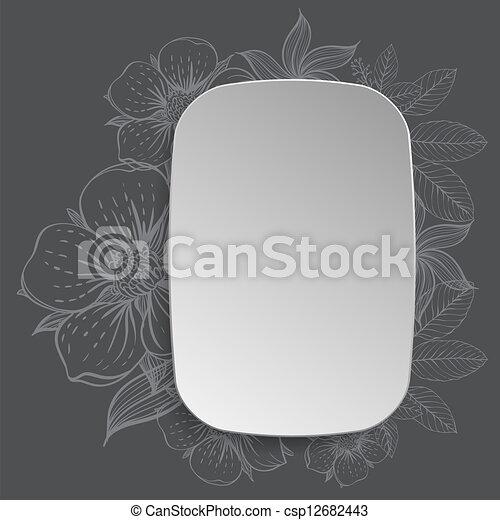 disegnato, cornice, fiori, mano - csp12682443