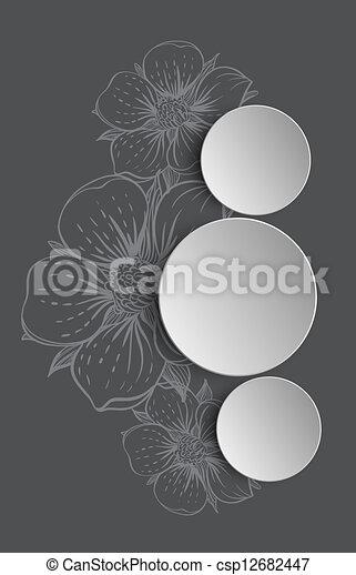 disegnato, cornice, fiori, mano - csp12682447