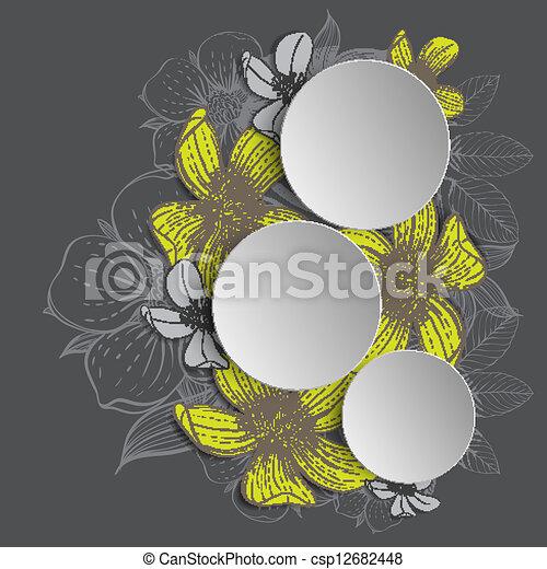 disegnato, cornice, fiori, mano - csp12682448
