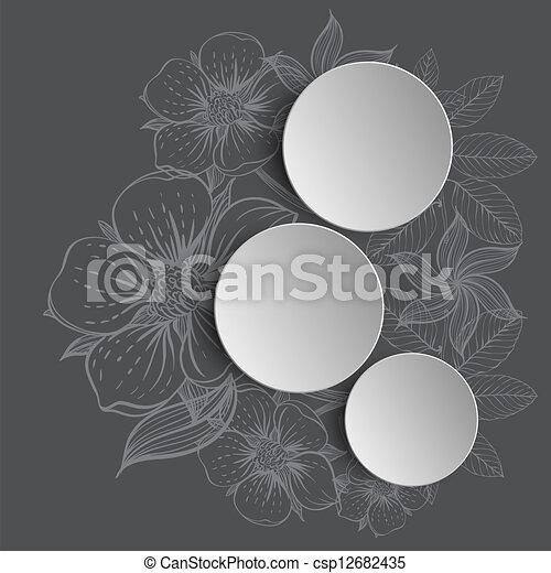 disegnato, cornice, fiori, mano - csp12682435