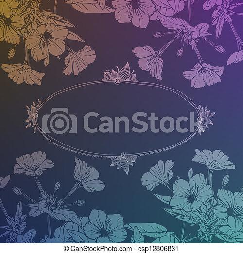 disegnato, cornice, fiori, mano - csp12806831