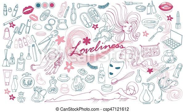 disegnato, elementi, cosmetico, collezione, mano - csp47121612