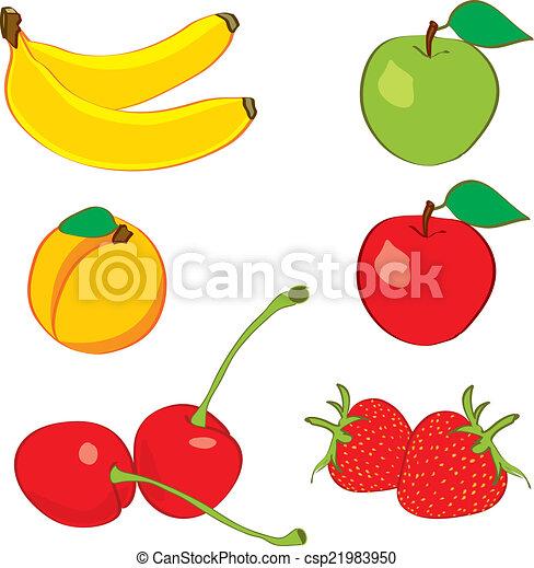 disegnato, schizzo, mano, colorito, frutte - csp21983950