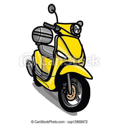 disegnato, scooter, -, mano - csp13868972
