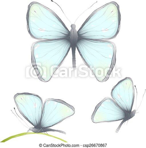 disegnato, tre, butterfy, mano, delicato - csp26670867