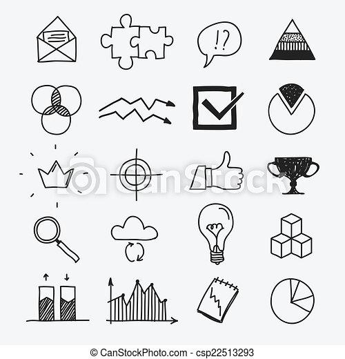 disegni, elementi, affari, scarabocchiare, mano, infographic, disegnato - csp22513293