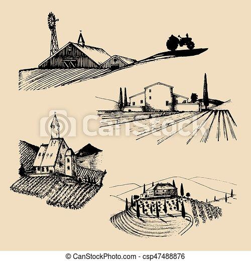 Great disegni fattoria set abbazia vigneto vettore for Disegni di ville