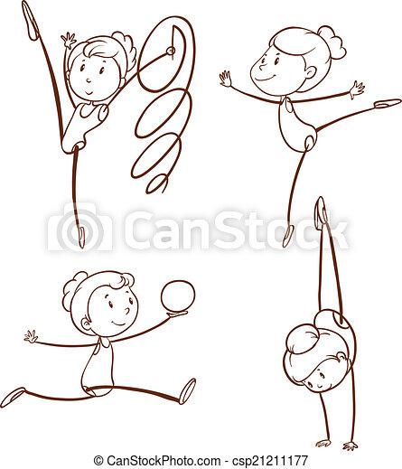 disegni, ragazza, ginnastica - csp21211177