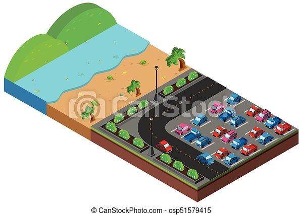 Disegno 3d scena spiaggia carpark scena illustrazione for Disegno 3d free