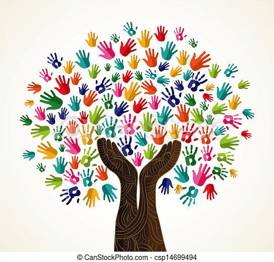 disegno, albero, colorito, solidarietà - csp14699494