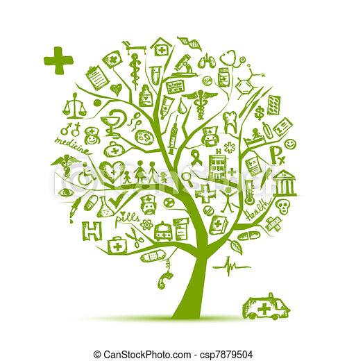 disegno, concetto medico, albero, tuo - csp7879504