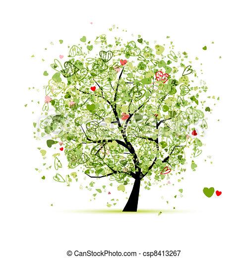 disegno, cuori, albero, tuo, valentina - csp8413267