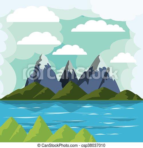 Disegno lago paesaggio grafico eps10 lago for Lago disegno