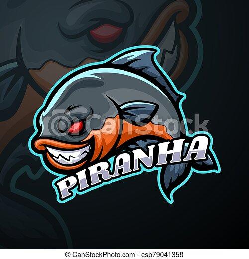 disegno, logotipo, mascotte, esport, piranha - csp79041358