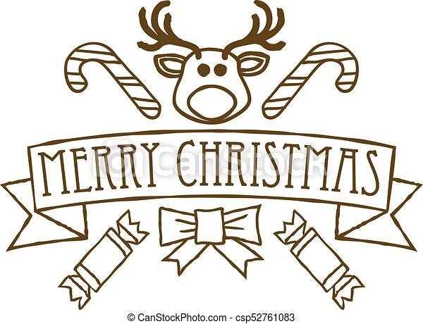 Buon Natale Disegni.Disegno Natale Allegro Saluti O Scudo Regalo Adesivo Arco Renna Disegno Saluti Buon Natale