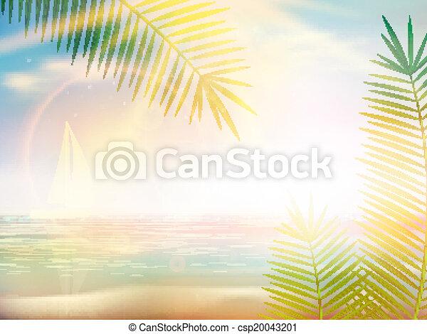 disegno, spiaggia, caraibico, template., alba - csp20043201
