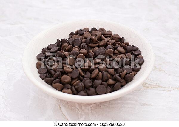 Dish of milk and dark chocolate chips - csp32680520