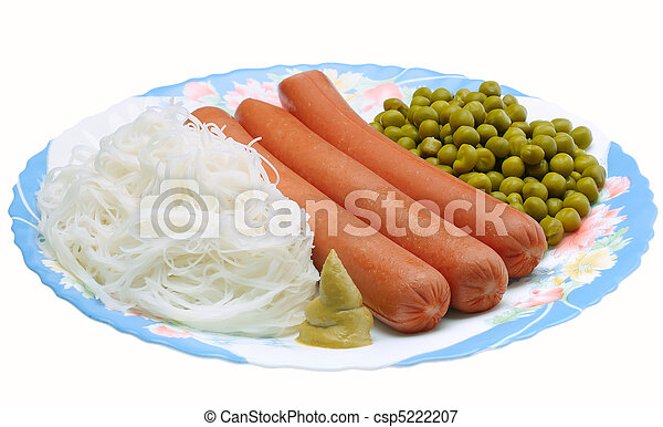Dish with sausage, noodles and gree - csp5222207