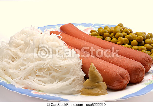 Dish with sausage, noodles and green peas - csp5222210