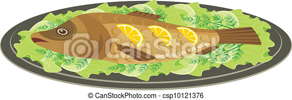 Dish with the baked fish - csp10121376