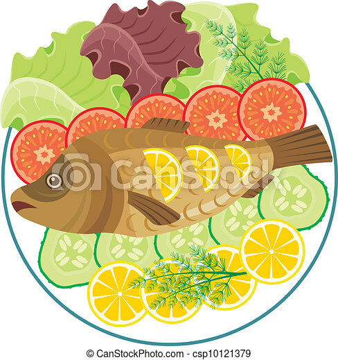 Baked Fish Clipart Vector Graphics 1586 Baked Fish Eps