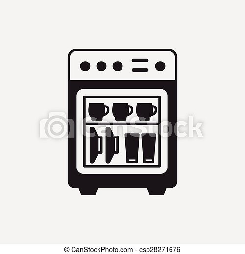 dishwasher clipart black and white. vector - dishwasher icon clipart black and white