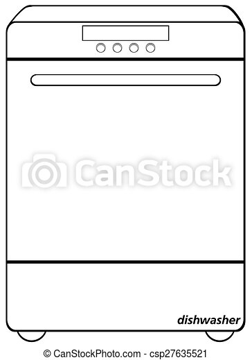 dishwasher clipart black and white. dishwasher - csp27635521 clipart black and white