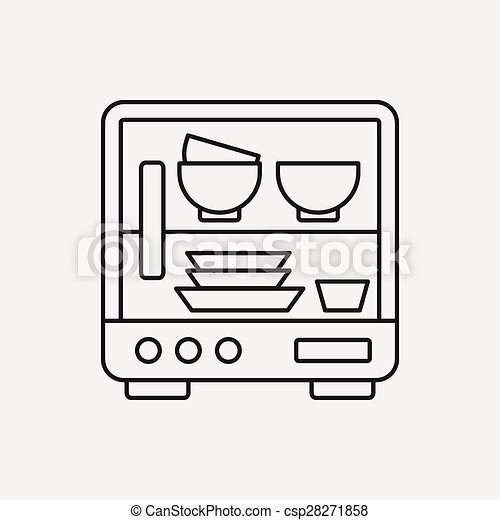 dishwasher clipart black and white. vector - dishwasher line icon clipart black and white v