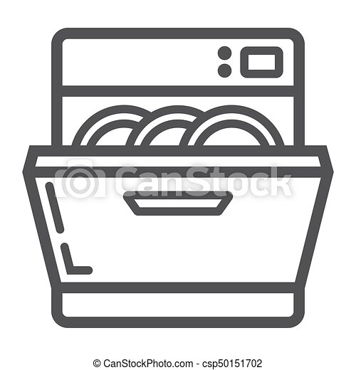 dishwasher line icon kitchen and appliance vector graphics a linear pattern on a white. Black Bedroom Furniture Sets. Home Design Ideas