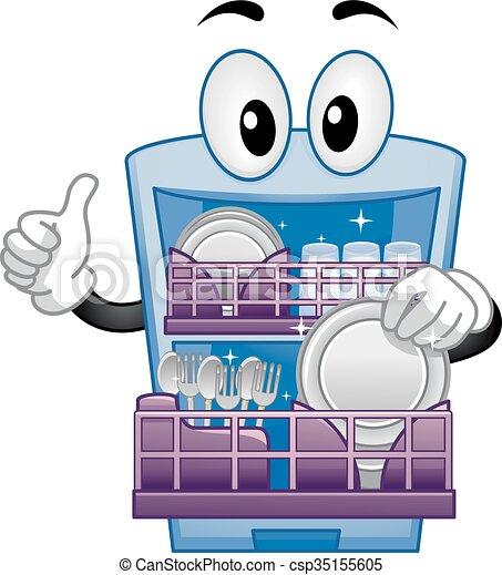 Dishwasher Mascot Thumbs Up - csp35155605