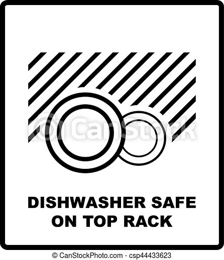 Dishwasher Safe On Top Rack Symbol Isolated Dishwasher Safe Sign