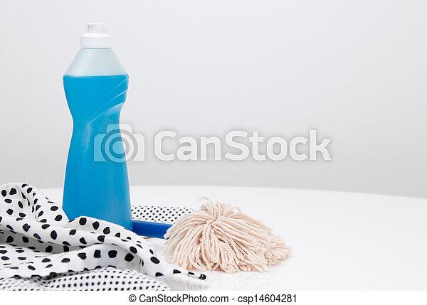 Dishwashing liquid, dishtowels and brush - csp14604281