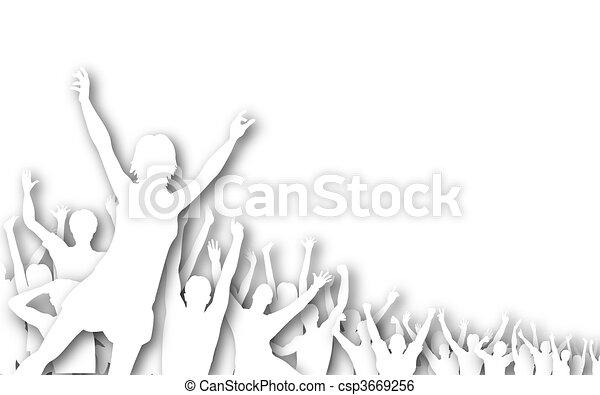 disinserimento, silhouette, folla - csp3669256