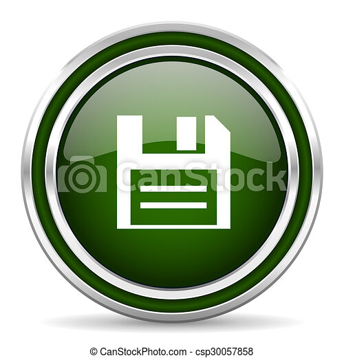 disk green glossy web icon - csp30057858