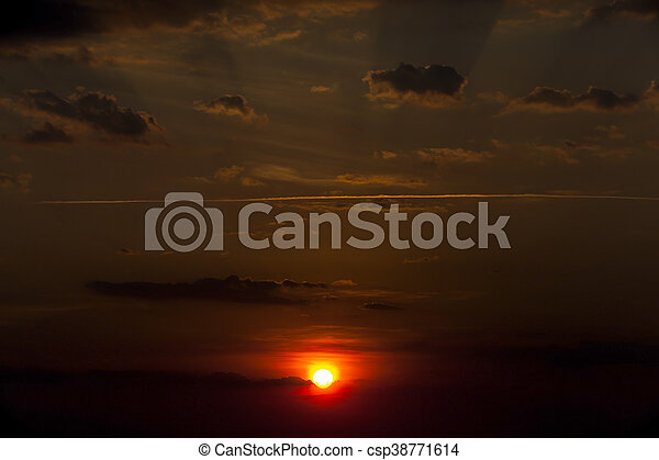 disk of the sun, sunset - csp38771614